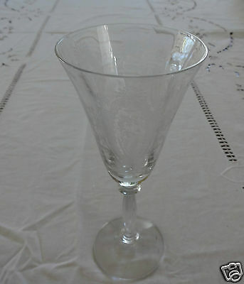 "FRANCISCAN/TIFFIN CRYSTAL ETCHED -BLUE BELL WINE6 1/4 "" HIGH."