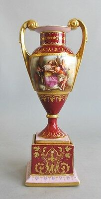 19th C. German Royal Vienna Hand-Painted Porcelain Vase  Finest Quality antique
