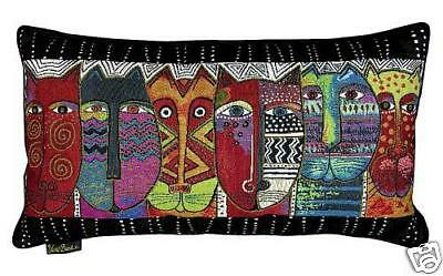 Laurel Burch Tribal Wildcat Decorative Oblong Throw Tapestry Pillow New