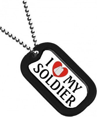 NEW Dog Tag with key chain I Love My Soldier. 2790.