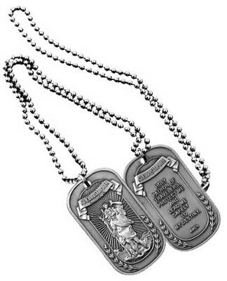 NEW Dog Tag with key chain St. Saint Christopher Protect Us 2-Sided. 2802.