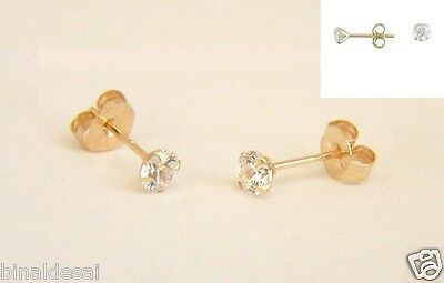 9ct Gold Tiny Small 3mm Clear White Round CZ Studs Earrings Girls Kids Gift BOX