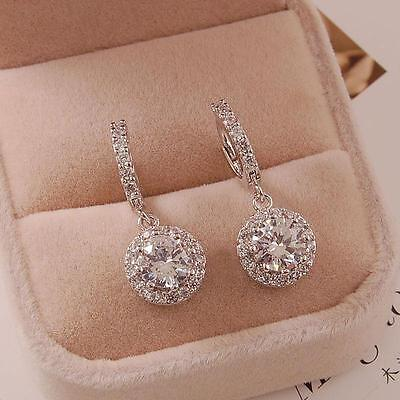 18K White Gold Plated Clear Cubic Zirconia Small Hoop Fashion Earrings 13677
