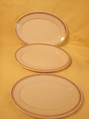 "3 Vintage OP Co Syracuse China Old Ivory  9.25"" Oval Plates Platters"