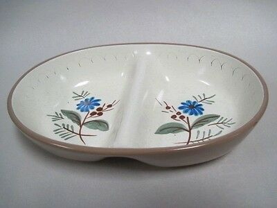 Hand Painted Stangl Pottery Blue Daisy DIvided Vegetble Bowl