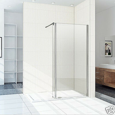 1950mm Wet Room Shower Enclosure Walk In Glass Cubicle Fixed Panel Stone Tray SU