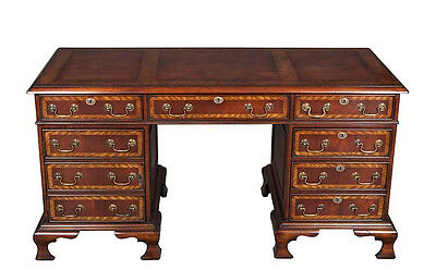Antique Style English Hand Made Mahogany Credenza Computer Desk