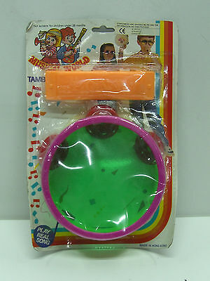 Vintage 80's Toy Plastic Tambourine Harmonica Music World Mint Moc
