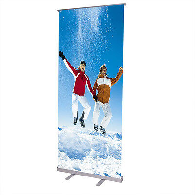 "32-87"" Adjustable Height Retractable Roll Up Banner Stand Trade Show Telescopic"