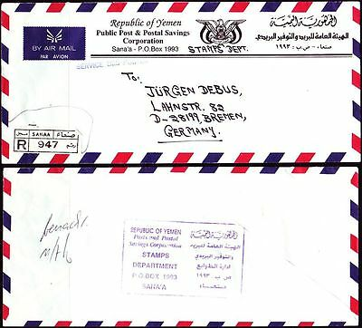 Yemen A.R. R-Cover from Postal Authority to Germany [cm034]