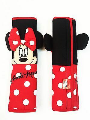 Minnie Mouse Car Accessory #Red : 2 pieces Seat Belt Sholder Pads Covers