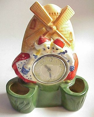 VERY Vintage Dutch Windmill & Boy & Girl Wall Pocket Clock