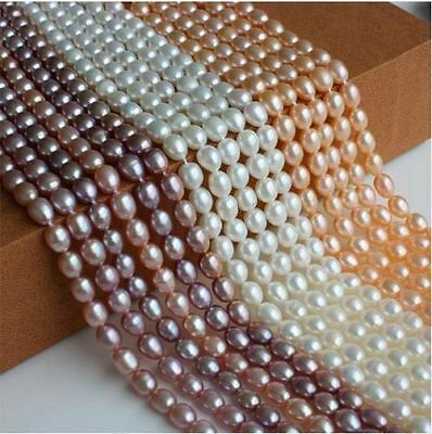 "Wholesale Fashion freshwater rice -shaped Pearl 14 ""-7Color"