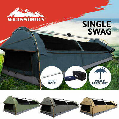 WEISSHORN King Single Swag Camping Swags Canvas Tent Deluxe Aluminum Poles Bag