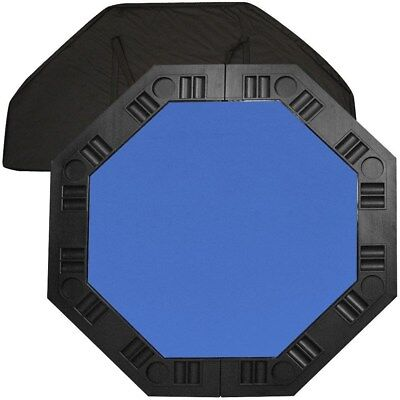 8 Player Octagonal Felt Poker Table top - Blue - 48 inch Cards Puzzles