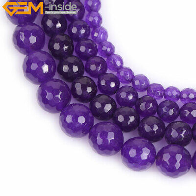 "Faceted Purple Jade Stone Beads For Jewelry Making 15"" Wholesale Jewlery Beads"