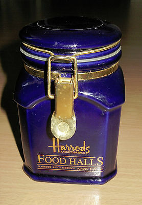 Harrods Food Halls Knightsbridge London Deep Blue Ceramic Canister Tea Coffee