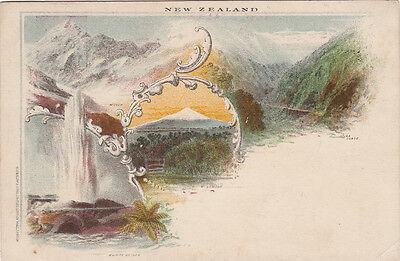 Postcard New Zealand 1&1/2d queen Victoria WAIKITE GEYSER illustrated official
