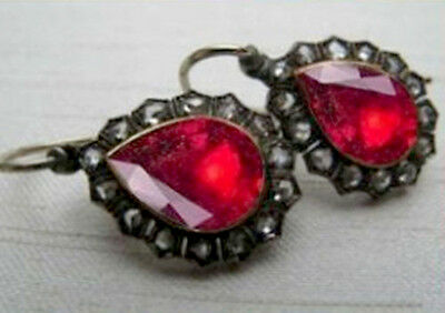 Victorian 2.10ct Rose Cut Diamond Ruby Earring, Free Shipping Worldwide
