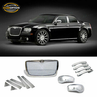 Fit 05-10 Chrysler 300 Chrome Front Grille+Door Handle+Mirror Cover+Pillar Panel