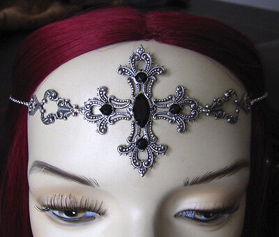Goth Filigree RENAISSANCE Medieval CROSS Circlet Crown Headpiece Princess Queen