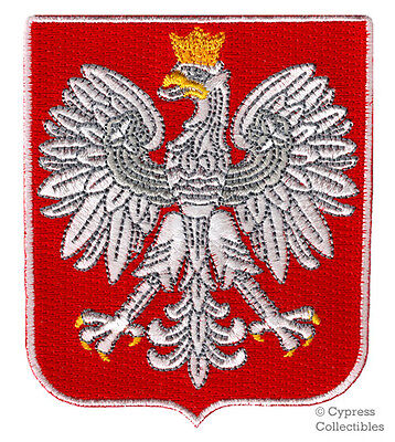 POLAND COAT OF ARMS embroidered PATCH iron-on POLSKA CREST SWALLOW BIRD APPLIQUE