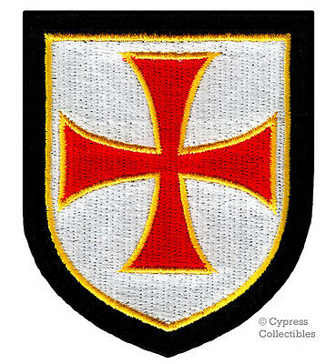 KNIGHTS TEMPLAR SHIELD iron-on PATCH embroidered CRUSADES RELIGIOUS MILITARY RED