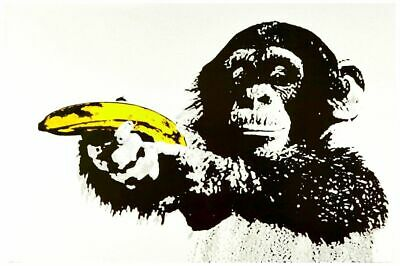 "Banksy style Monkey with Banana Gun Pop Art Poster A3 CANVAS PRINT ~ 16"" X 12"""