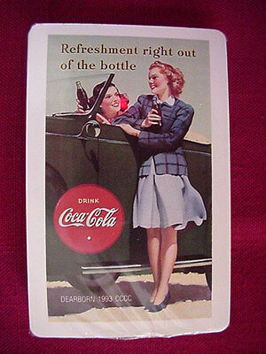 Coca Cola Playing Card Deck  GIRLS AT CAR 1993  Still Sealed Never Opened Coke