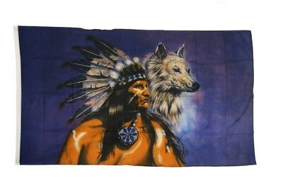 Fahne Flagge Indianer Wolf - 90 x 150 cm Hissflagge
