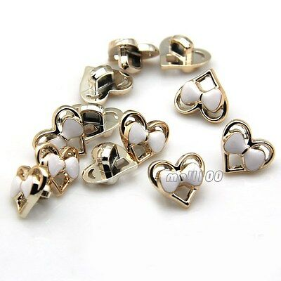 12PCS Heart Style Bowknot Novelty Shank Button For Sewing Embellishments Gold