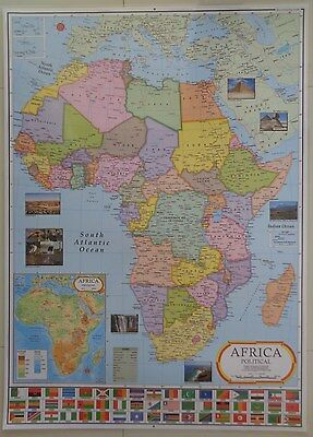 Laminated Map Of Africa Poster Wall Chart Upto Date Map With Flags Africa