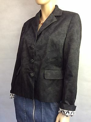 Per Una ~ Black Jacket With Floral Embroidery, Cotton Blend - Size 14 Vgc
