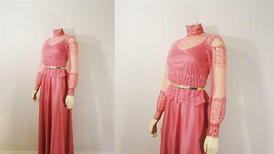 True Vintage Dress 60s 70s Pink Satin Gown Matching Lace Shirt High Neck S - M
