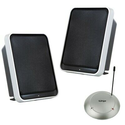 Funk Lautsprecher Stereo 2x50Watt BASSBOOST 100m UHF Plug&Play wireless Boxen