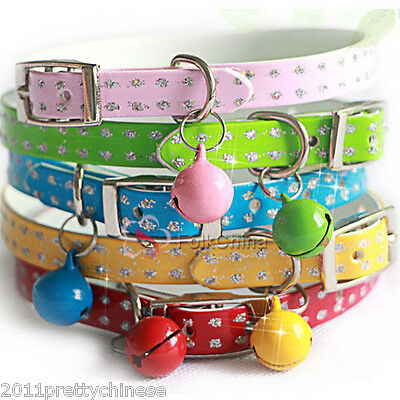 Pet Puppy Dog Cat PU Leather Collar Adjustable Brilliant Bling Bell Buckle