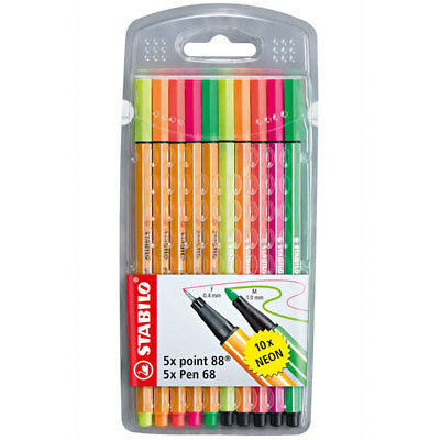 Stabilo Point 88/pen 68 Neon- Fineliner/filzstifte - 10Er Set Neonfarben