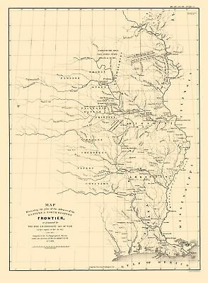 Western and North Western Frontier Defenses 1837-23 x 32 Old State Map