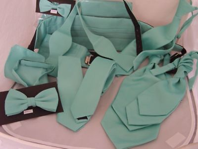 Matt Mint Green Collection-Hankies -Bow ties-Self-tie-Cravats-Cummerbunds + Sets