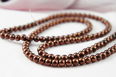*140pcs 6mm Bordeaux/brown Color Imitation Acrylic Round Loose Pearl Beads*