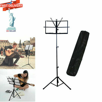 Handy Portable Adjustable Folding Music Stand with Bag Black