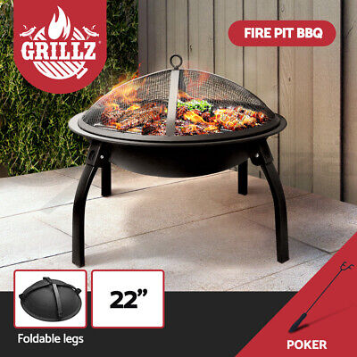 """Grillz 22"""" Portable Outdoor Fire Pit BBQ Camping Garden Patio Heater Fireplace"""