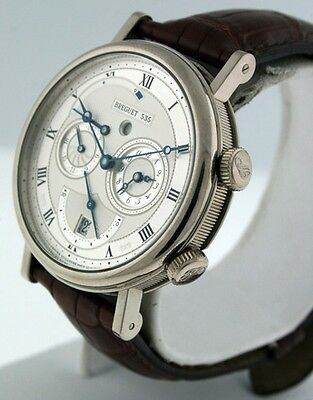 Breguet Classique GMT Alarm $40,700.00 gent's 18k White Gold 5707BA watch.
