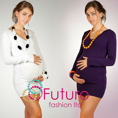 Vogue Women's Maternity Jumper Dual V- Neck Tunic Sweater Button FR06