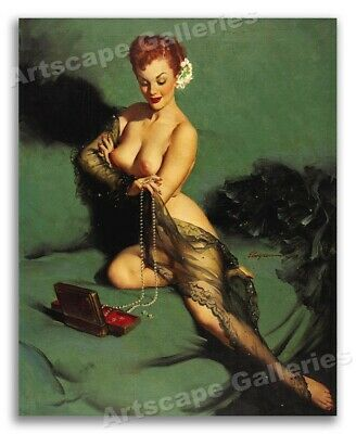 """1950/'s Elvgren PinUp Girl Poster /""""Up in Central Park/"""" Carriage Ride 24x30"""