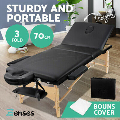 Zenses Wooden Portable Massage Table 3 Fold Beauty Therapy Bed Waxing 70CM BLACK