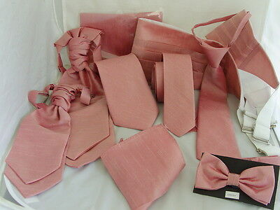Dusky Pink GG Collection Mens/Boys Bow ties-Ties-Cravats-Cummerbunds-Hankie+Sets