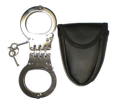 HINGED Handcuffs POLICE HEAVY DUTY Hand Cuffs Double Locking Case Hinge Keys