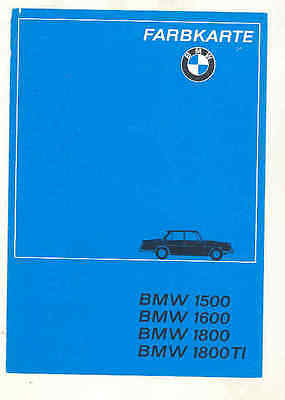 1964 BMW 1500 1600 1800 1800TI Paint Color Samples Brochure wu2020
