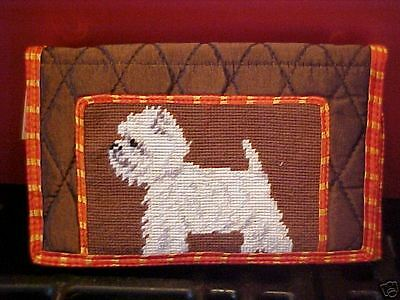 Westie  ~ Needlepoint Quilted Wallet